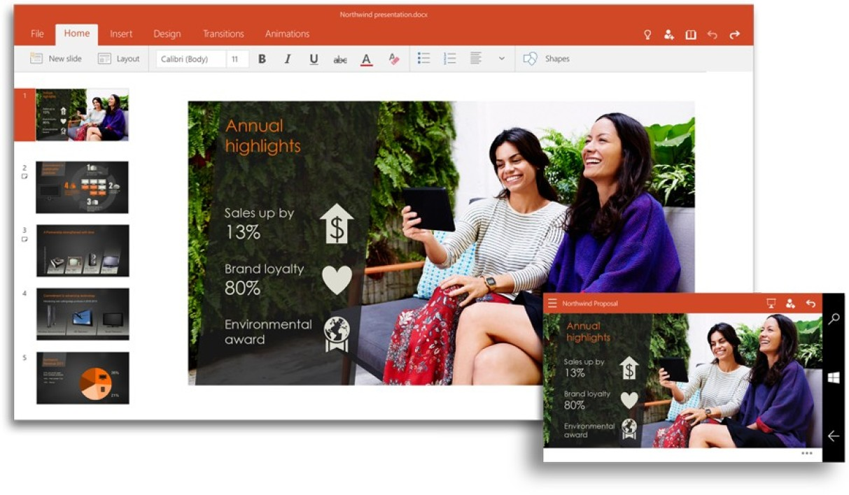 PowerPoint pour Windows 10