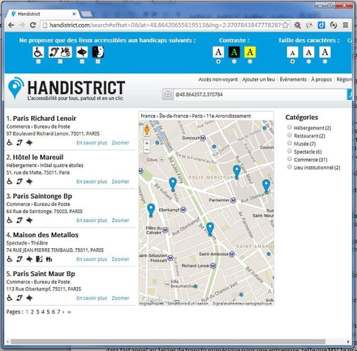 L'application Handistrict