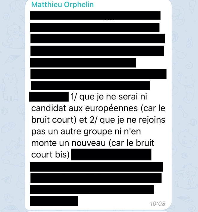 Message What's App du député Matthieu Orphelin
