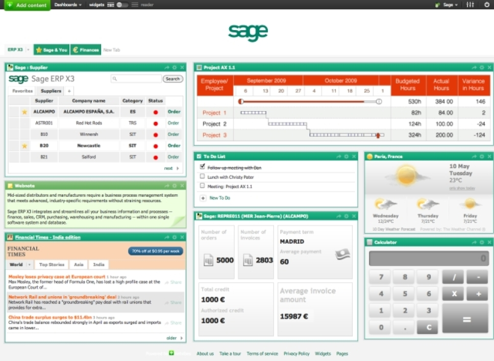 Sage Enterprise Webtop