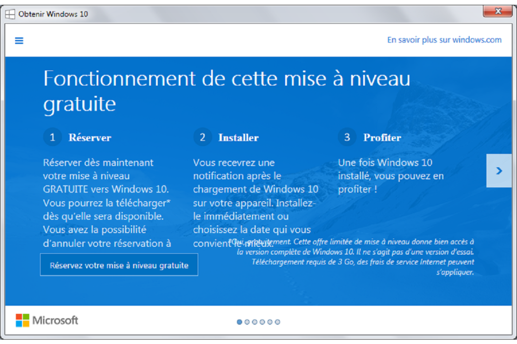 La proposition de mise à jour vers Windows 10