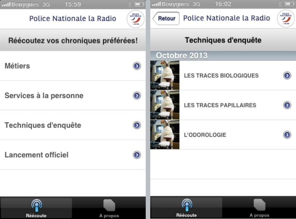 La webradio de la Police nationale sur iOS