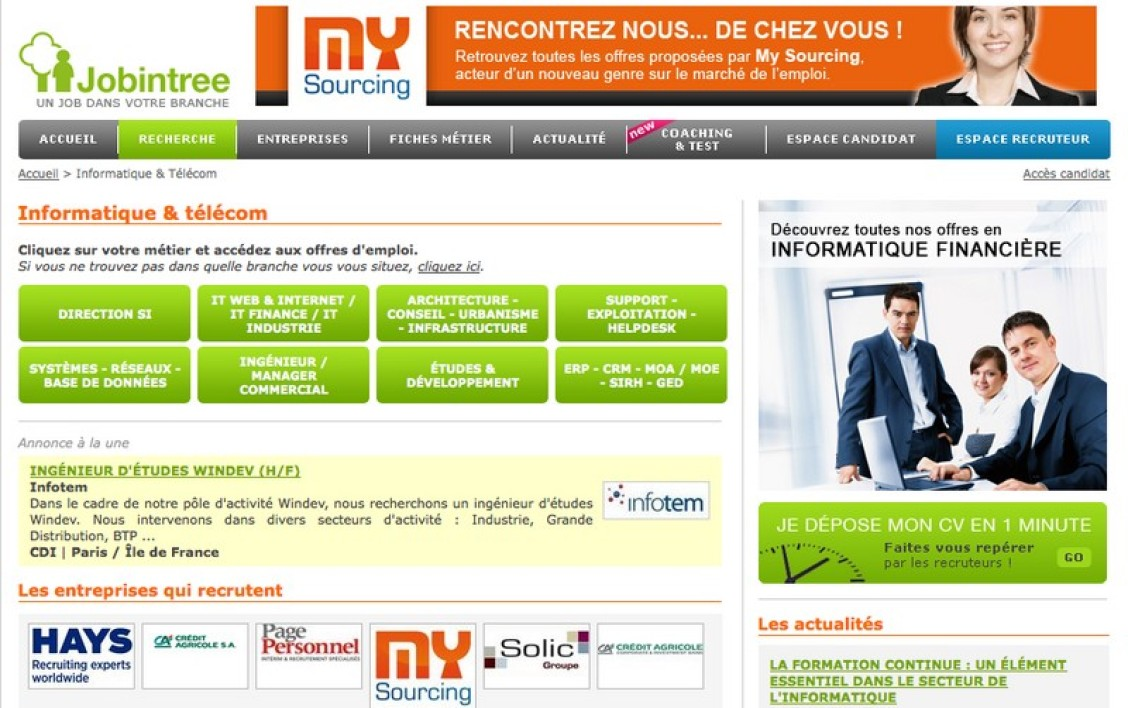 Le site Jobintree