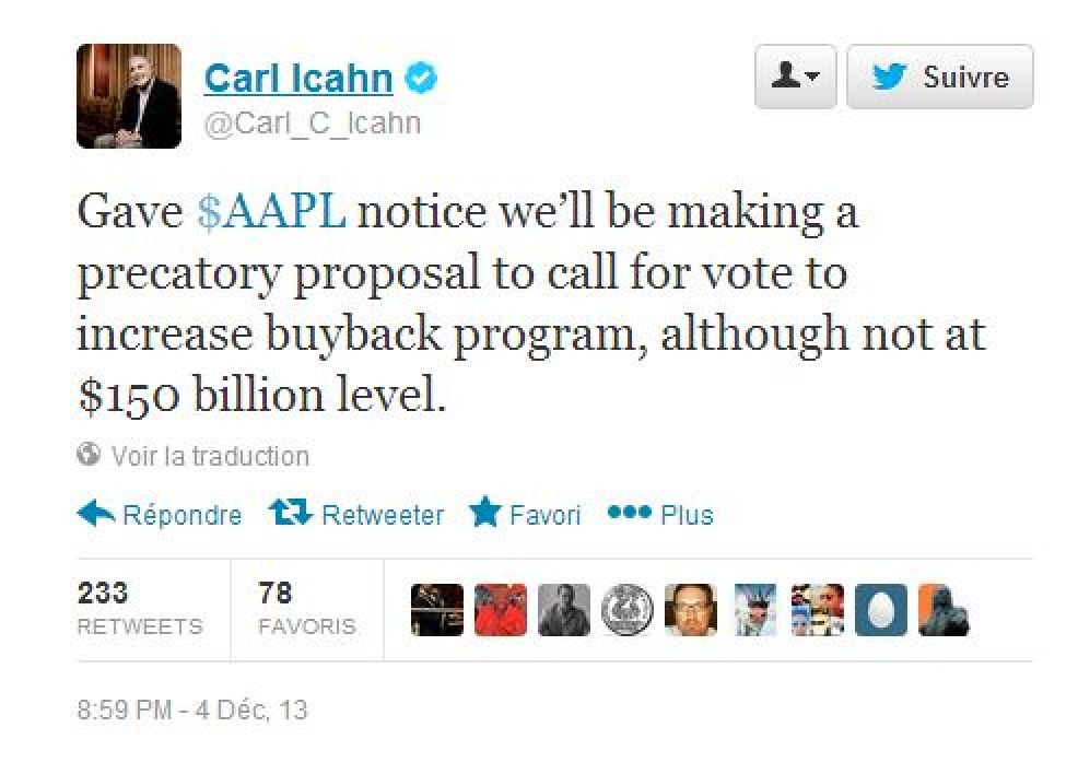 Carl Icahn Tweet
