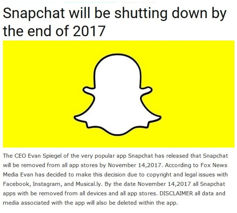 A wave of panic blew yesterday on social networks. Snapchat was down and a rumor announced the closure of the service for mid-November.