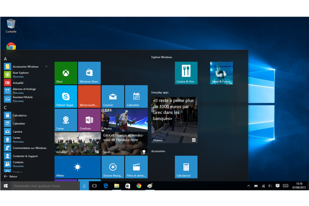 Windows 10 ma trisez le nouveau menu d marrer for Ouvrir fenetre plein ecran windows 7