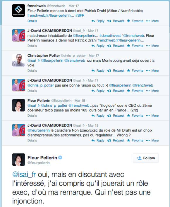 Discussion sur Twitter entre Fleur Pellerin, Jean-David Chamboredon