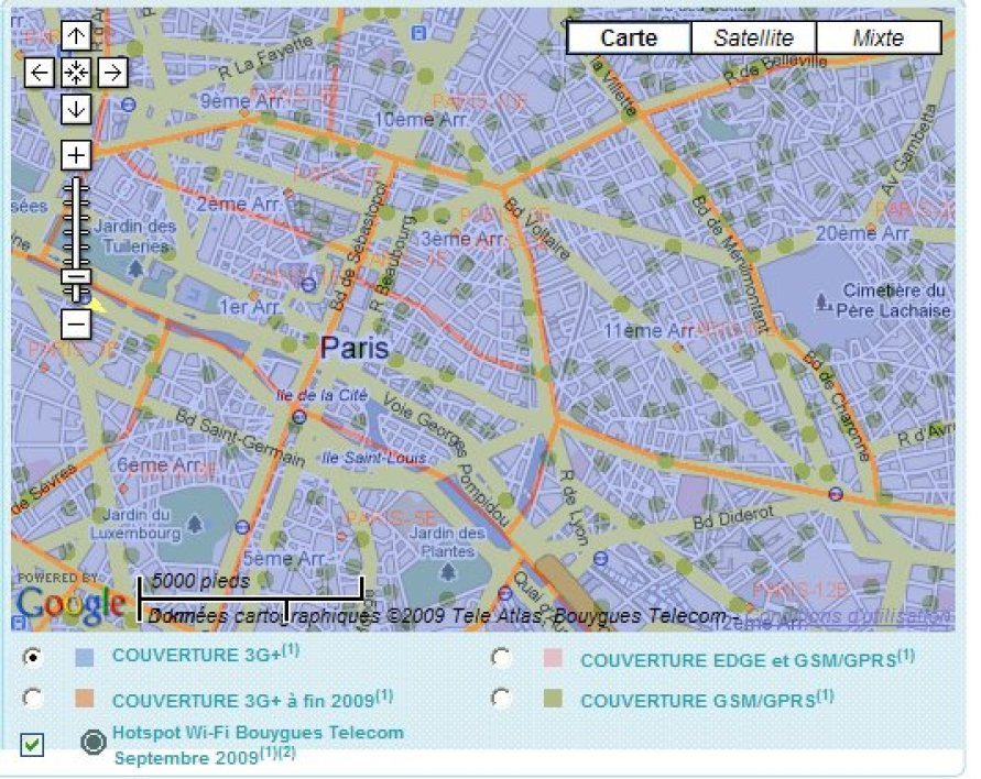 Le réseau de hot spots (points verts) desservant Paris