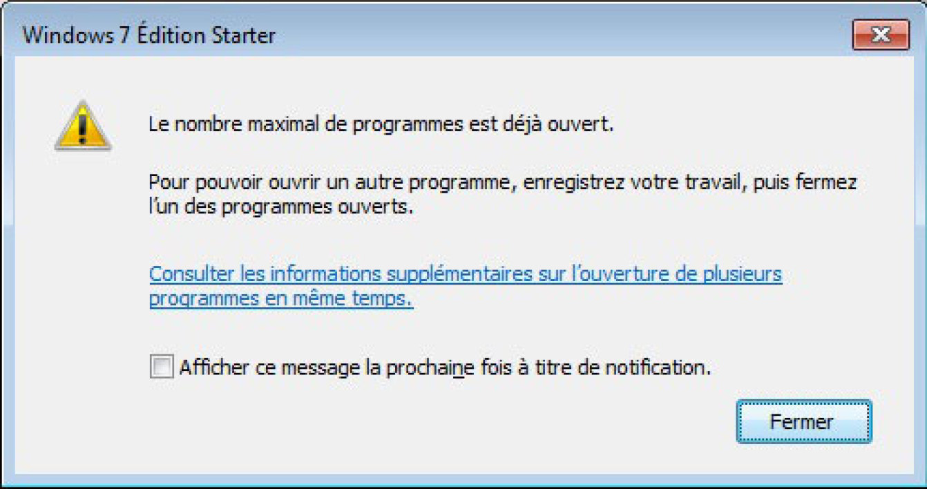 Windows 7 Starter limité