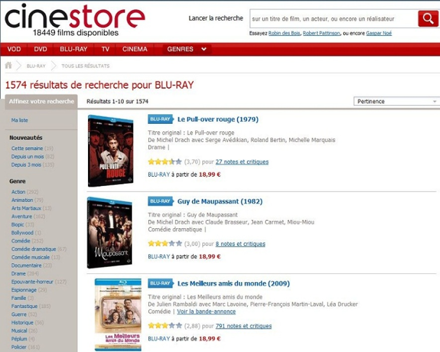 Cinestore, un site d'Allociné