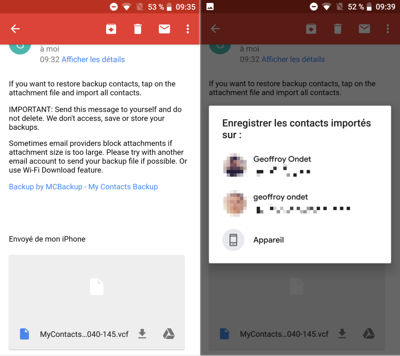 transferer contact gmail sur iphone