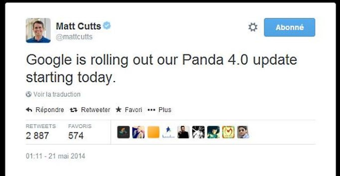 Tweet de Matt Cutts annonçant Panda 4.0