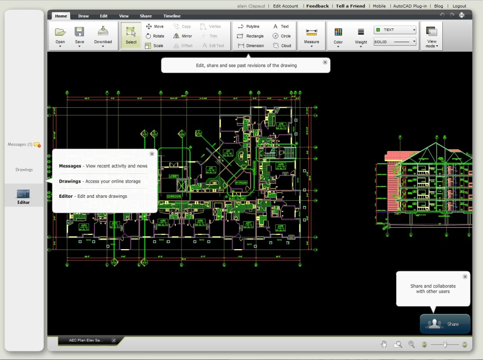 L'application en ligne AutoCAD WS.