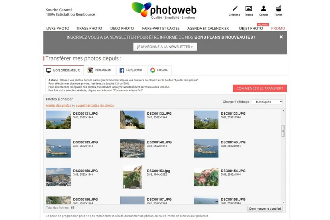 Transfert de photos sur Photoweb