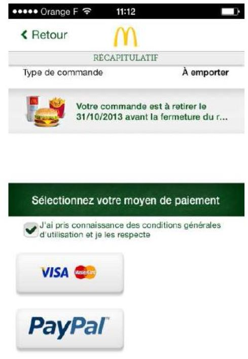 L'application mobile McDonald's pour commander en ligne
