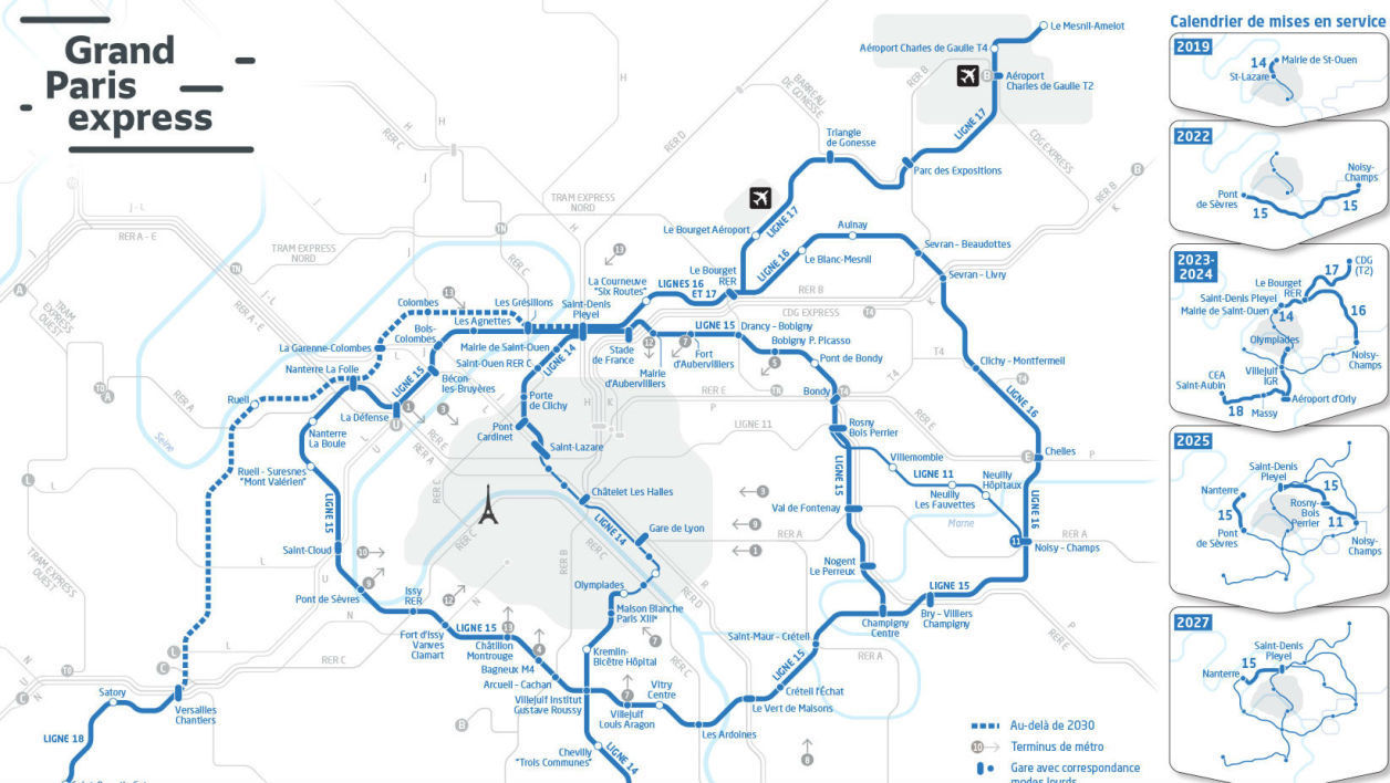 Plan du Grand Paris Express.