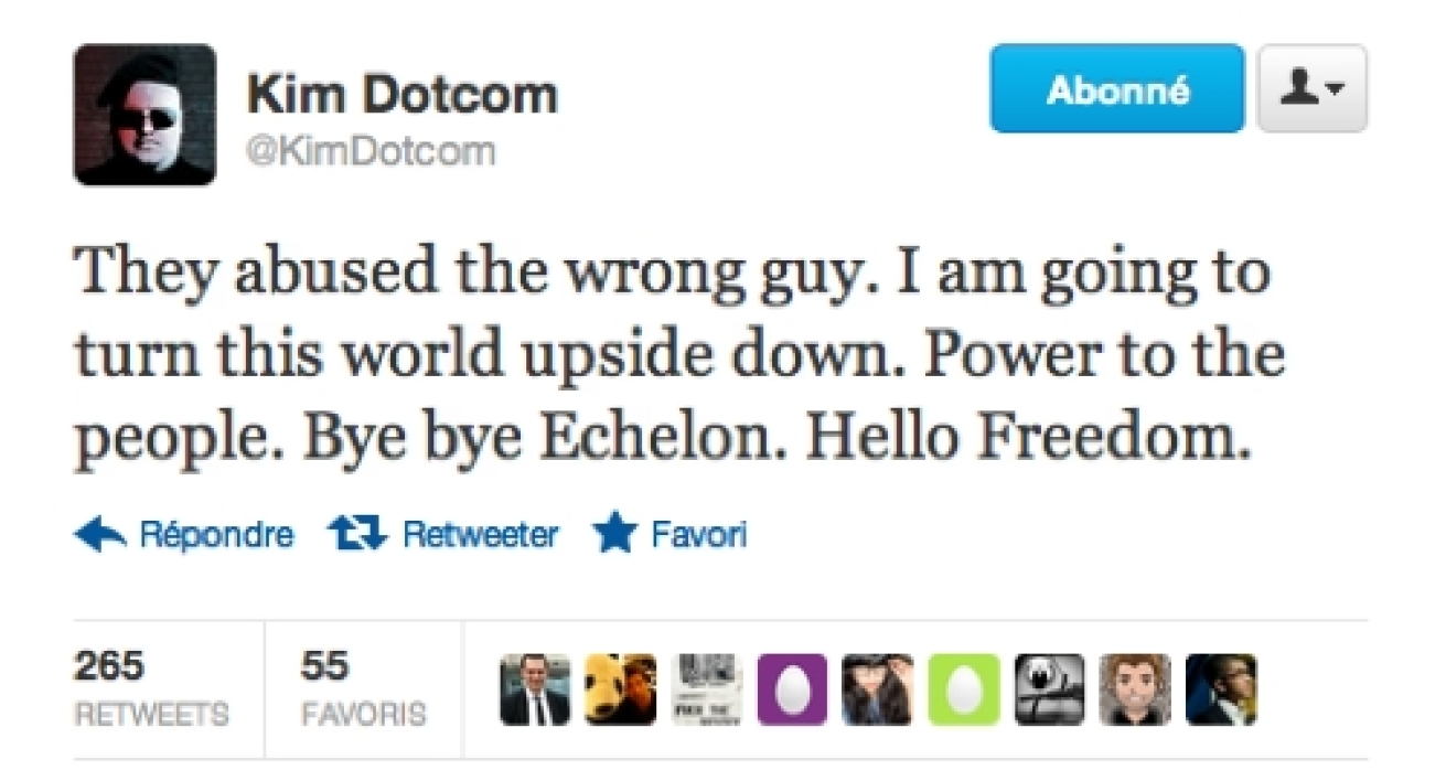 Tweet vindicatif de Kim Dotcom
