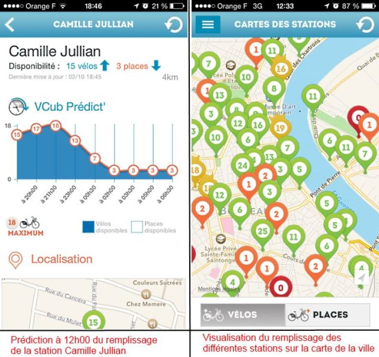 L'application mobile des vélos en libre-service de Bordeaux