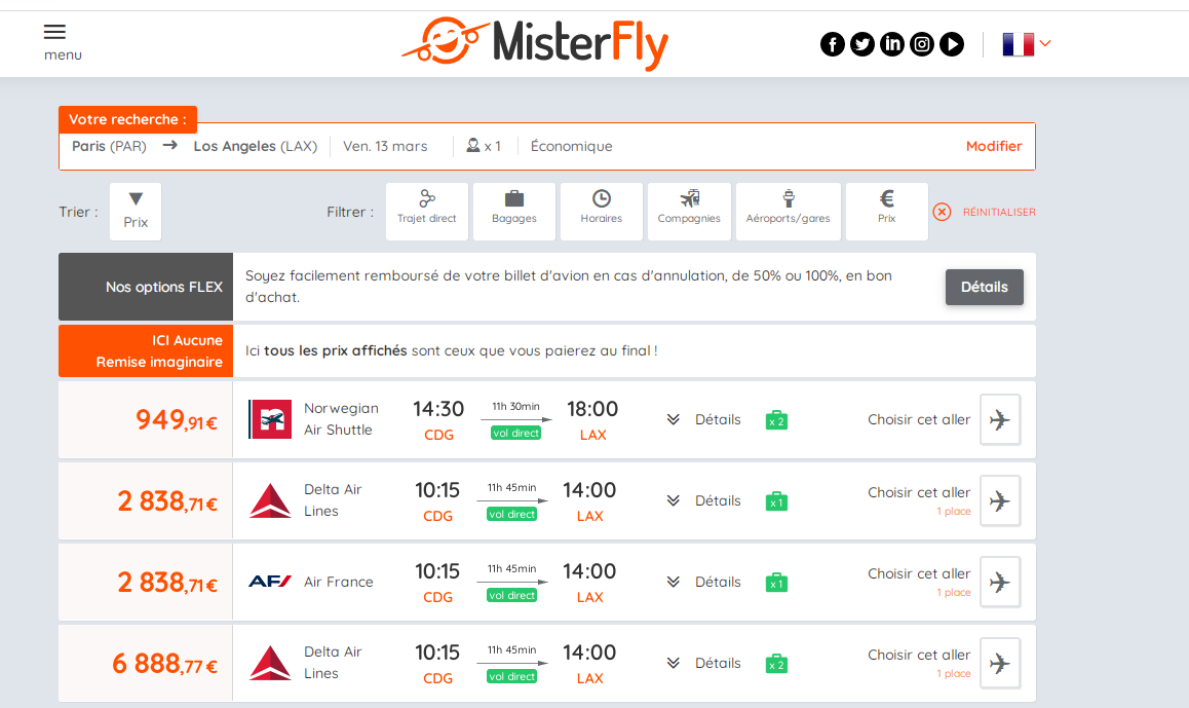 Misterfly vols Paris-Los Angeles 13 mars