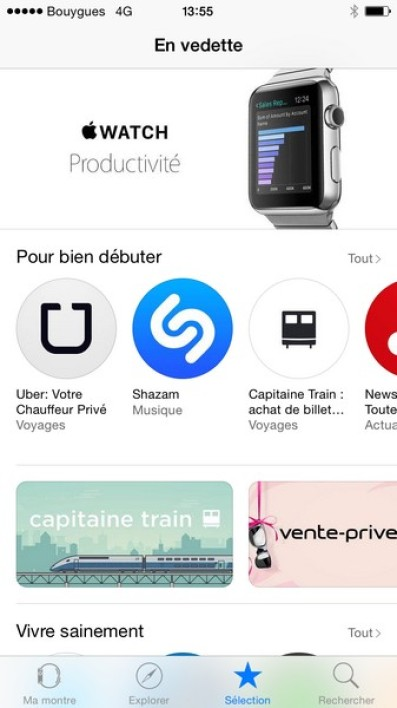 L'Apple Watch Store sur iPhone
