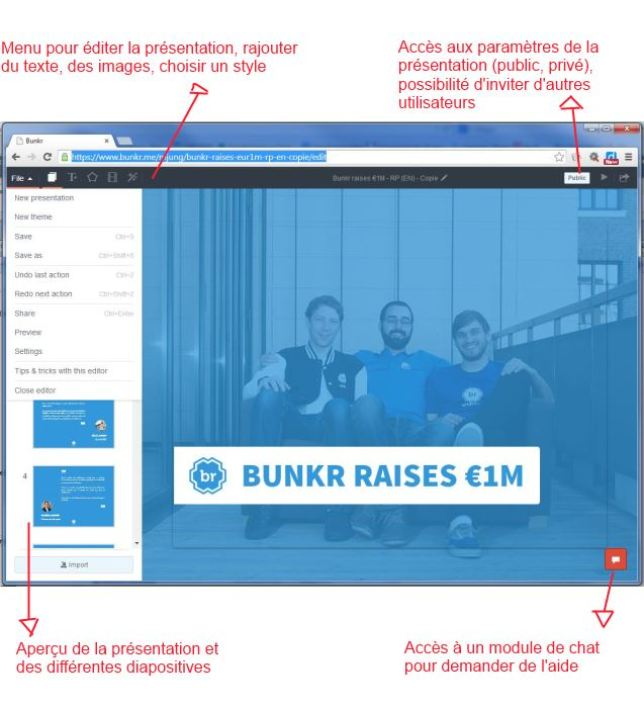 L'interface web de Bunkr