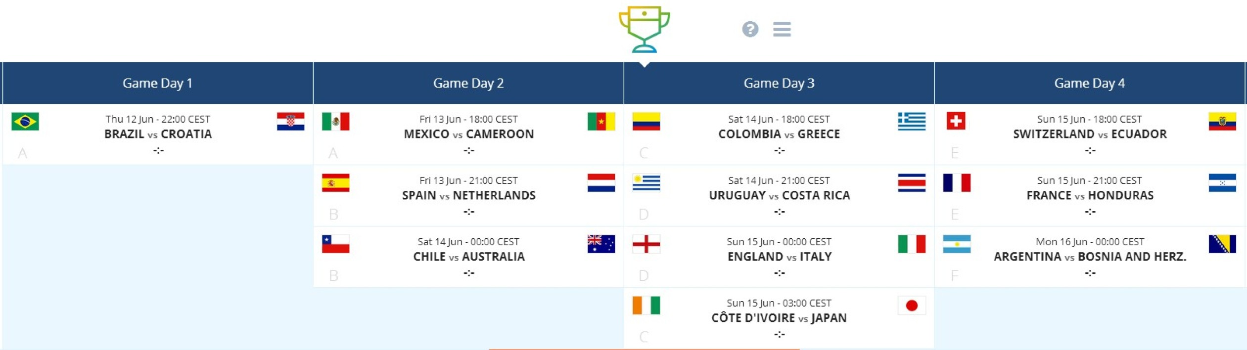 Pocket World Cup Schedule