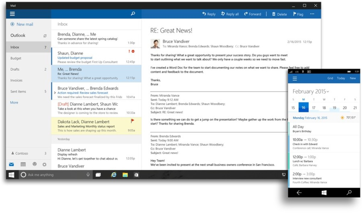 Outlook pour Windows 10