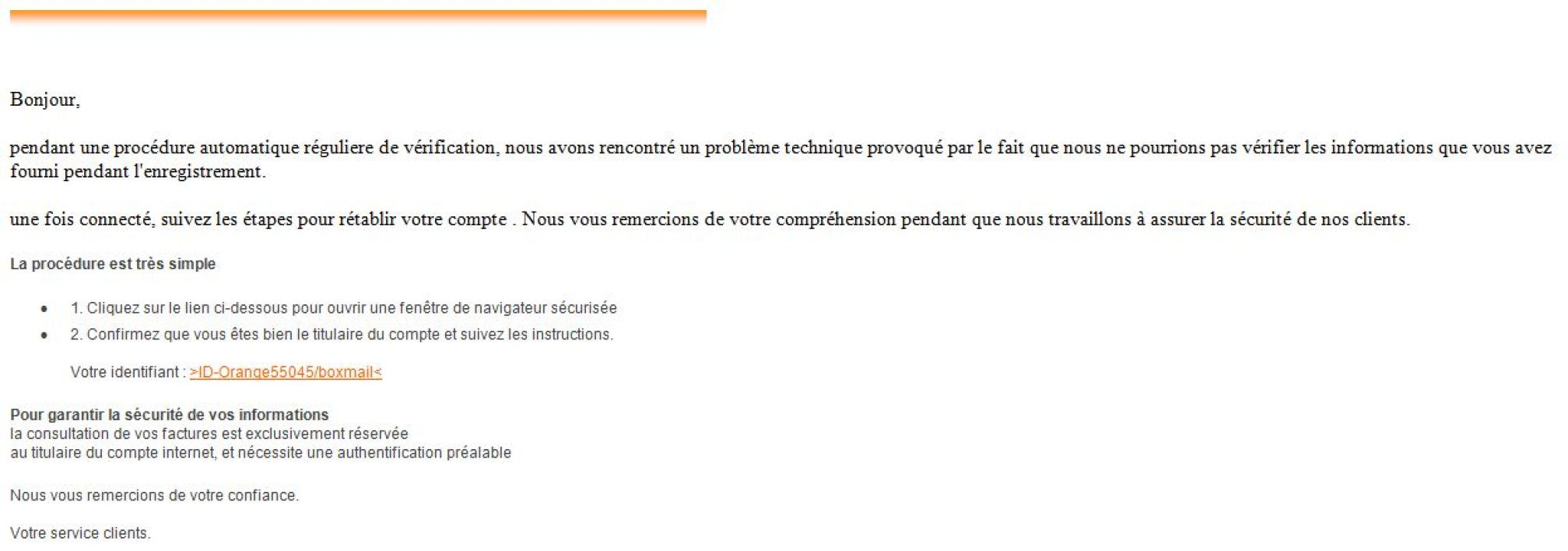 Un faux e-mail d'Orange reçu le 9 mars