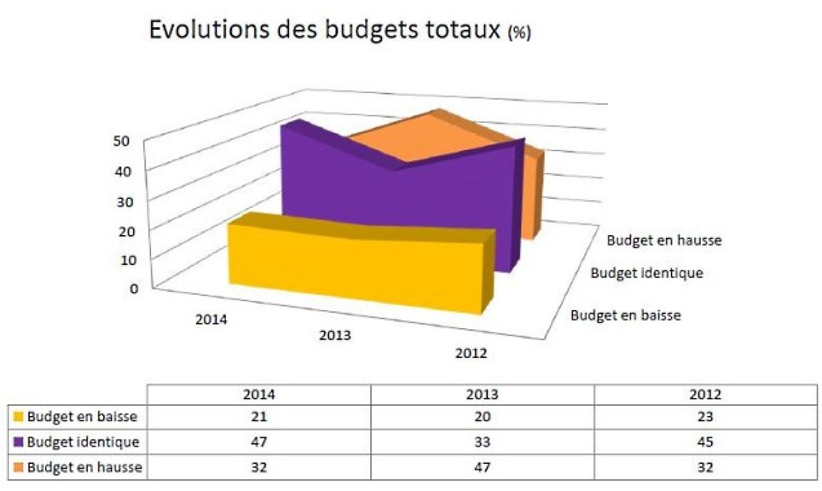 Evolutions des budgets intranet totaux en %