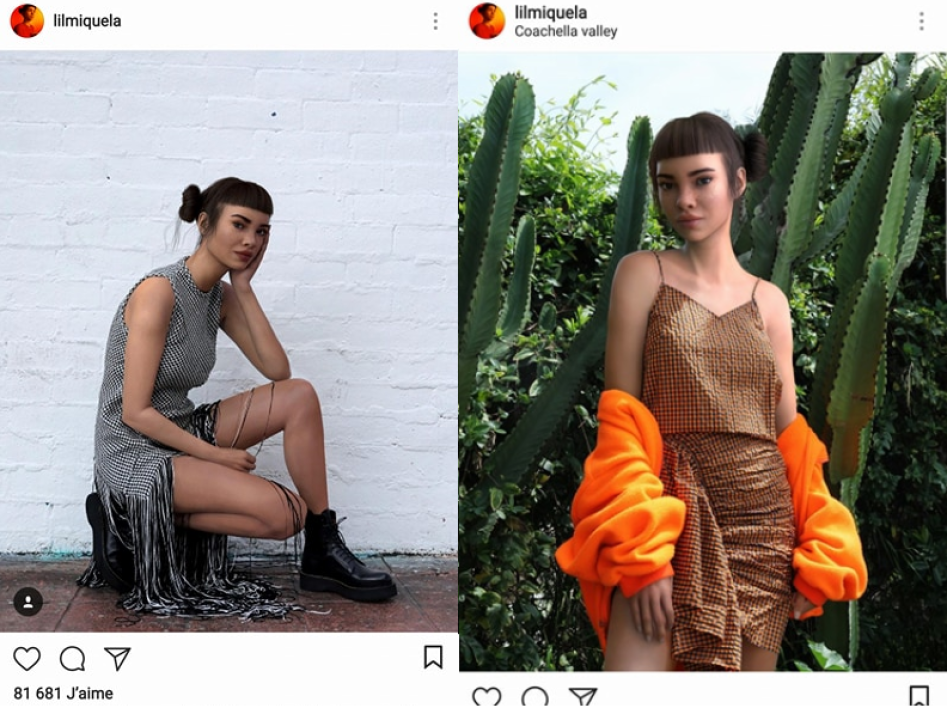Lil Miquela, près d'un million de followers sur Instagram.