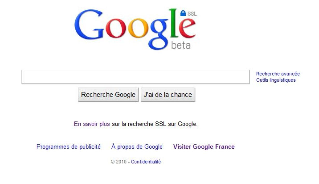 Google en version chiffrée (https).