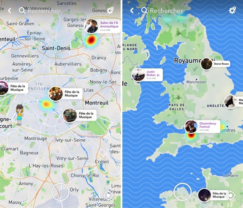localiser snapchat mise a jour