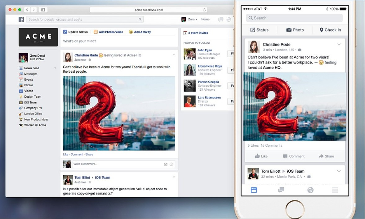 Interface graphique de Facebook Work