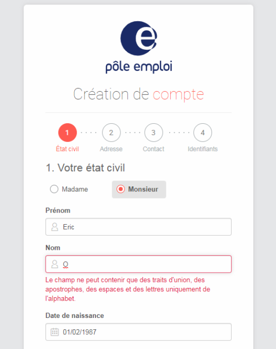 Capture du site de Pole Emploi.