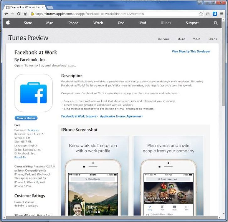 L'application mobile Facebook at Work déjà disponible sur iTunes