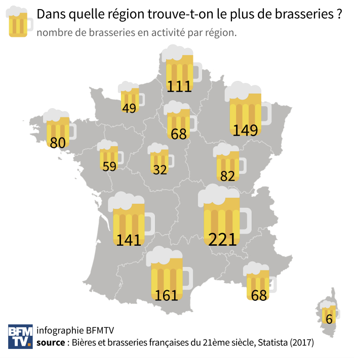 Carte des brasseries en France.