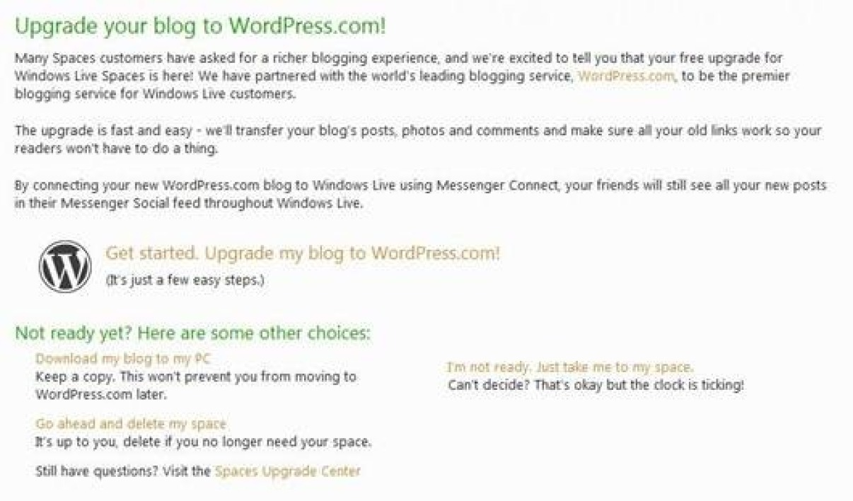 "Le conseil de Microsoft à ses utilisateurs...""Upgrade your blog to WordPress.com"""