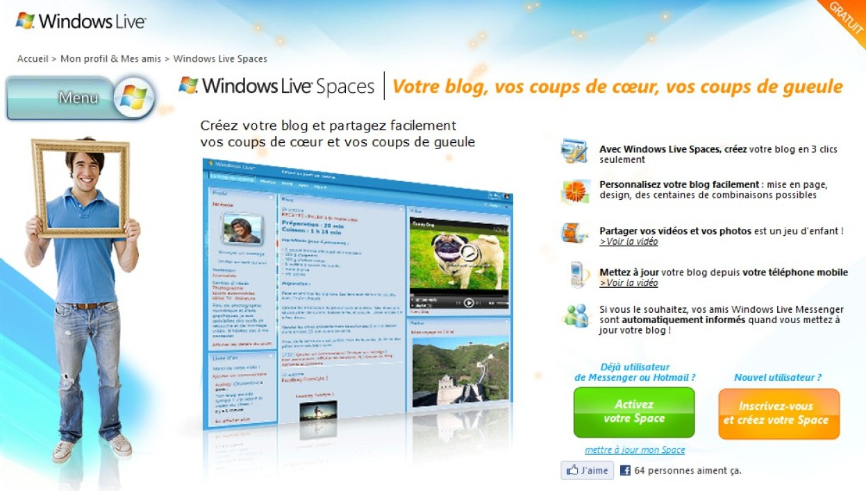 La page d'accès de feu Windows Live Spaces