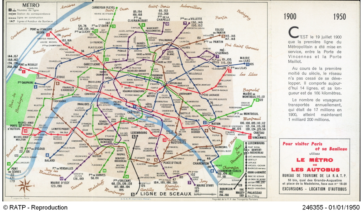 carte du métro paris