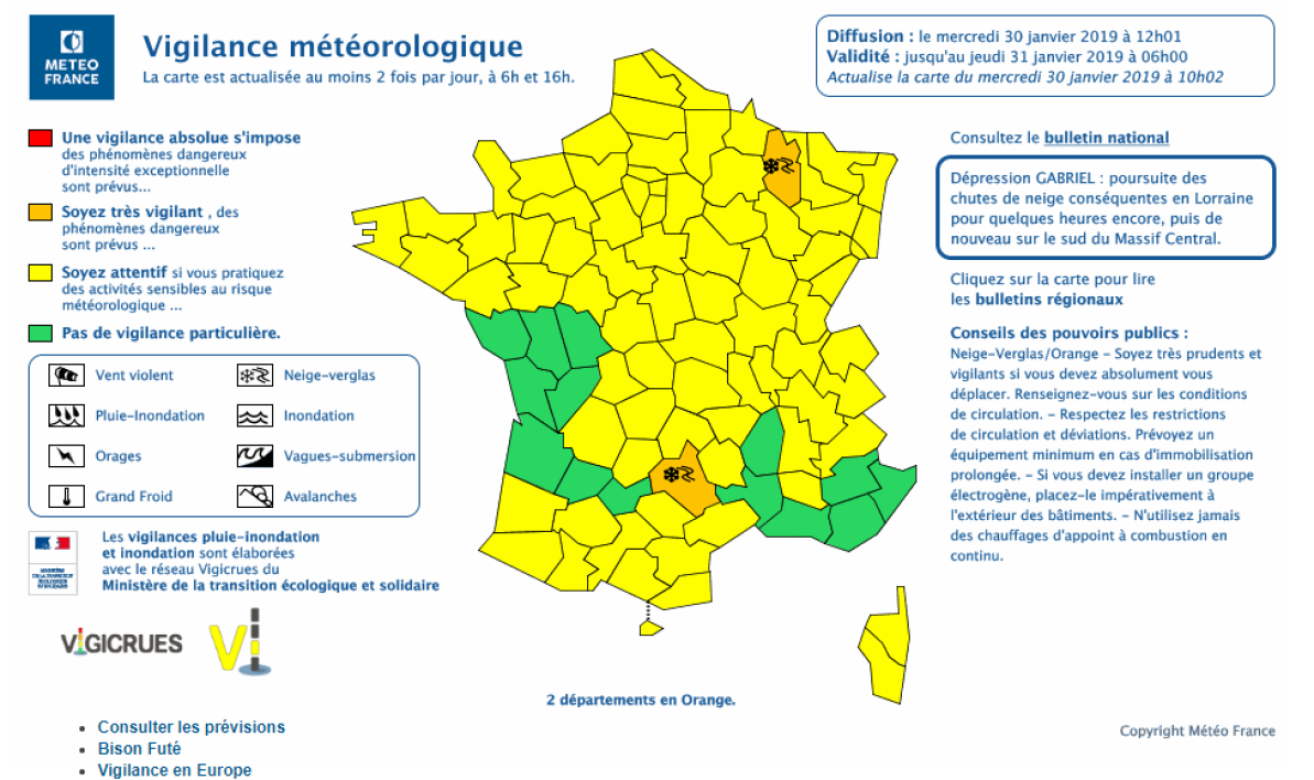 cap meteo france alerte orange