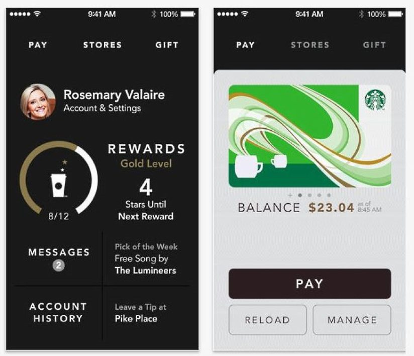 L'application mobile de paiement Starbucks