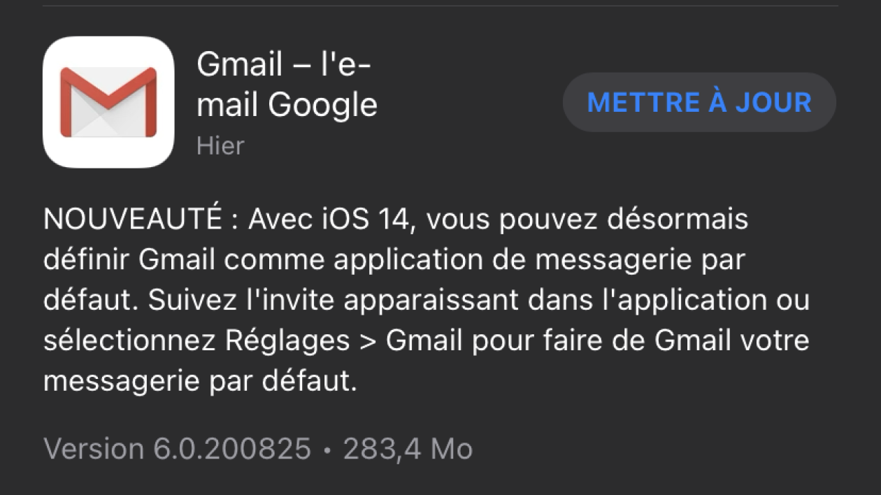 Gmail has been updated to iOS 14