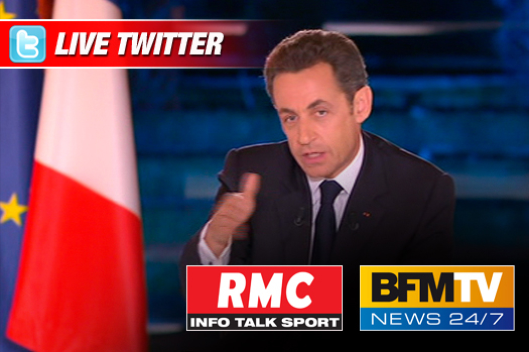 Intervention de Nicolas Sarkozy en direct sur Twitter