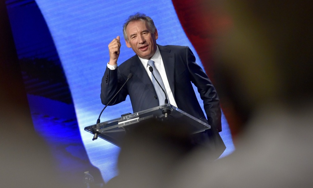 "President of the center right party Modem Francois Bayrou gives the closing speech of the mouvment's ""Universites de rentrees"", on September 25, 2016 in Guidel, western France.  LOIC VENANCE / AFP"