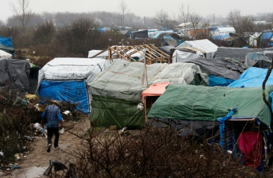 "Le camp de migrants appelé la ""Jungle"" le 22 février 2016 à Calais"