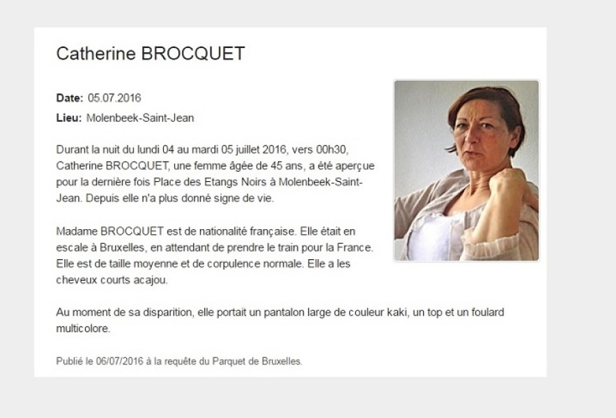 Catherine Brocquet a disparu à Molenbeek.