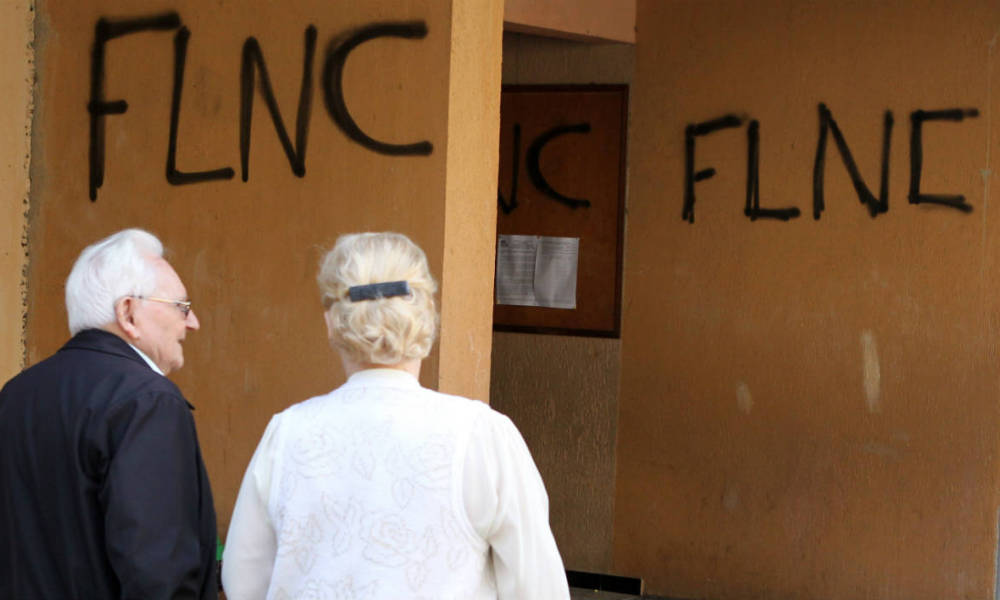 "Un mur tagué des initiales ""FLNC"", à Bastia. (Photo d'illustration)"