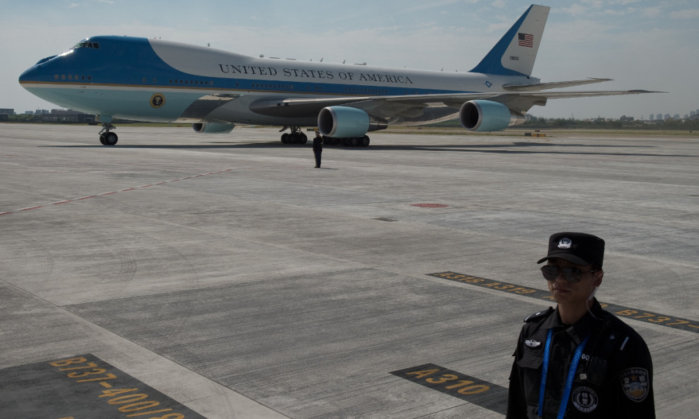 Air Force One atterrit sur le tarmac à Hangzhou, le 3 septembre.