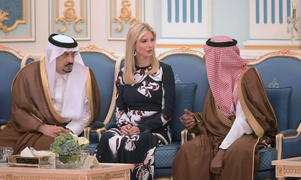 Ivanka Trump is seen at a ceremony where her father US President Donald Trump received the Order of Abdulaziz al-Saud medal from Saudi Arabia's King Salman bin Abdulaziz al-Saud at the Saudi Royal Court in Riyadh on May 20, 2017.  MANDEL NGAN / AFP