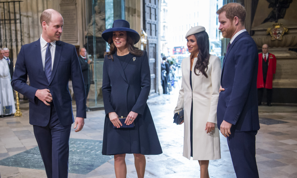 Le prince William, Kate Middleton, Meghan Markle et le prince Harry à Londres en mars 2018